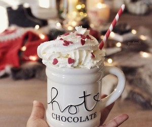 christmas, hot chocolate, and cup image