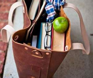 book, bag, and apple image