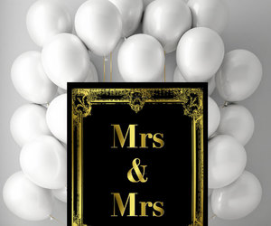 black and gold, wedding decor, and lesbian wedding image