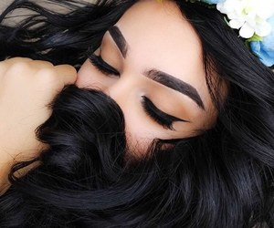beauty, flower crown, and black hair image