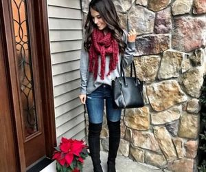 outfit, ootd, and high knee boots image