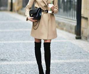 knee high boots, ootd, and camel jacket outfit image