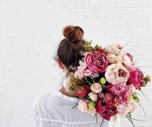 flowers, girl, and bun image