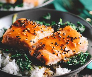 food, rice, and salmon image