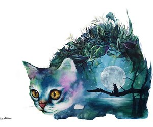 art, cat, and moon image