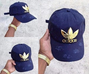 beautiful+, jewelry+, and adidas+cap+blue+gold image