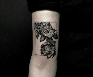 art, black, and roses image