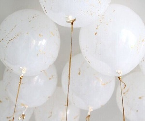white, balloons, and gold image