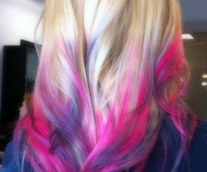 girl, colorful, and hair image