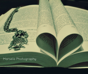 book, heart, and owl image