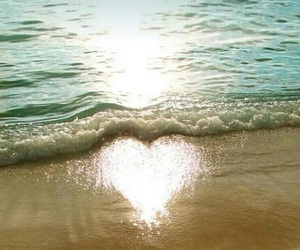 beach, heart, and sun image