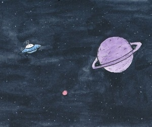 alien, saturn, and art image
