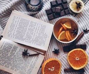 book, orange, and chocolate image