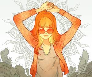 draw, girl, and sun image