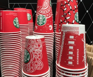 lovely, red, and starbucks image