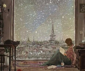 paris, snow, and book image