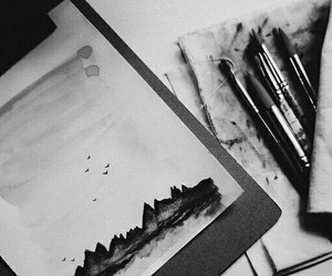 art, black and white, and draw image