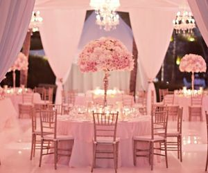 wedding, reception, and pink image