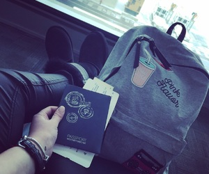 airport, backpack, and girly image