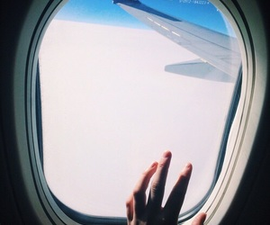 sky, airplane, and travel image
