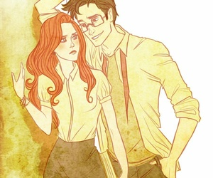 james potter, lily evans, and harry potter image