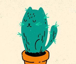 art, cactus, and cat image