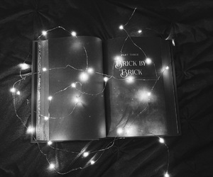 books, lights, and reading image