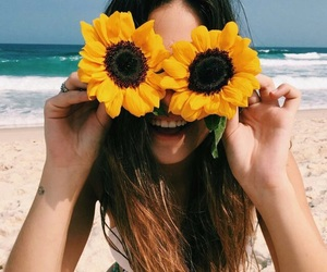 beach, girl, and sunflower image