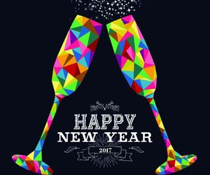 happy new year, multi-color, and champagne glasses image
