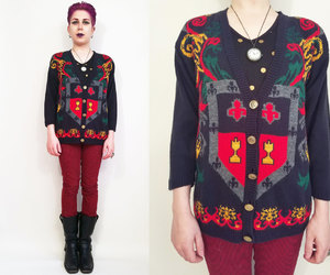 cardigan sweater, vintage sweater, and coat of arms image
