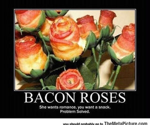 bacon, rose, and funny image