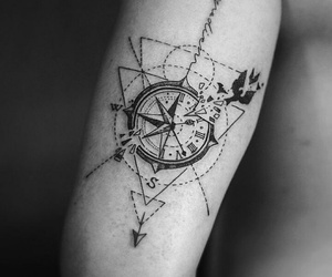 tattoo, compass, and style image