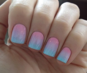 Bleu, ombre, and nails image