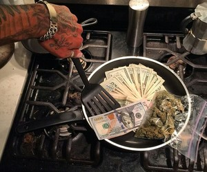 money, stove, and weed image