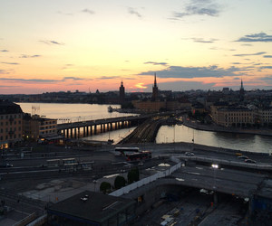 sky, sunset, and stockholm image