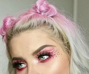 pink, girl, and makeup image