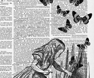 alice in the wonderland, butterfly, and book image