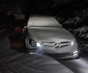 car, mercedes, and winter image