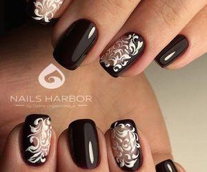 beautiful, black and white, and nail art image