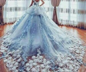 flowers blue gown image