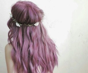 hair, pink hair, and purple hair image