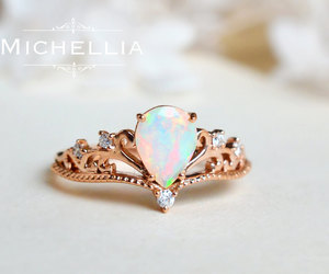 art deco, rose gold, and pear engagement ring image