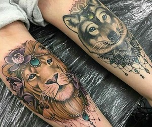 tattoo, lion, and wolf image