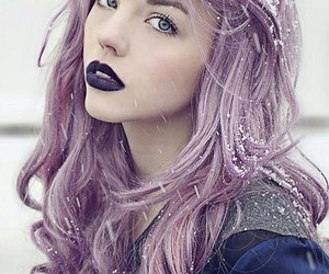 hair, purple, and snow image
