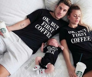 family, baby, and starbucks image