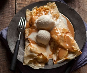 ice cream, food, and crepes image