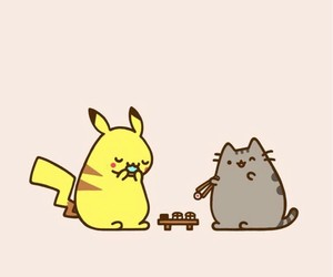 pikachu, pusheen, and background image