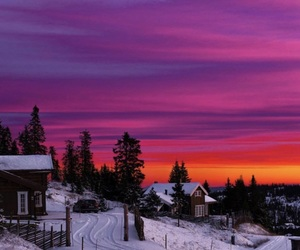 sunset, snow, and winter image