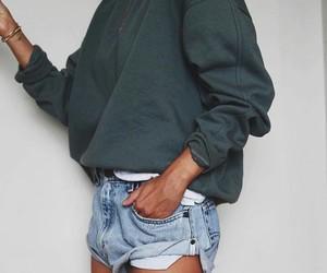 shorts, summer, and sweatshirt image
