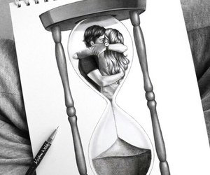 art, couple, and time image